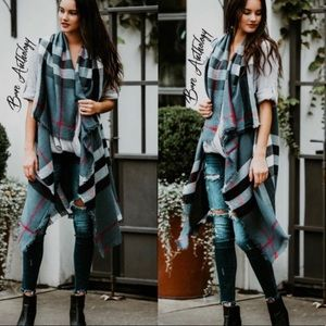 Iconic Gray & Plaid Fringed Vest with Arm holes